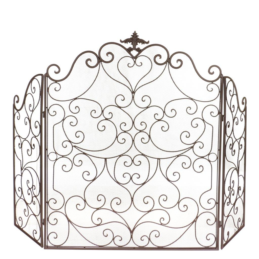 Antique sur écran de protection Shield–Filet de Spark Sécurité de cheminée pliable Dibor