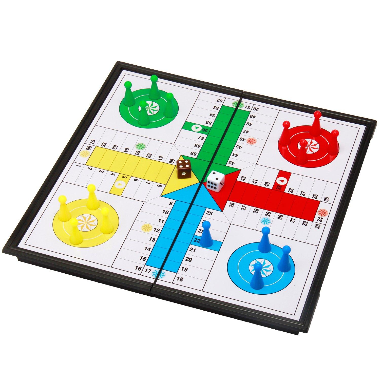 """Amerous 10"""" Ludo Go Board Folding Travel Magnetic Ludo Set"""