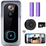 WiFi Video Doorbell Camera, XTU Wireless Doorbell Camera with Chime, 1080P HD, 2-Way Audio, Motion Detection, IP65…