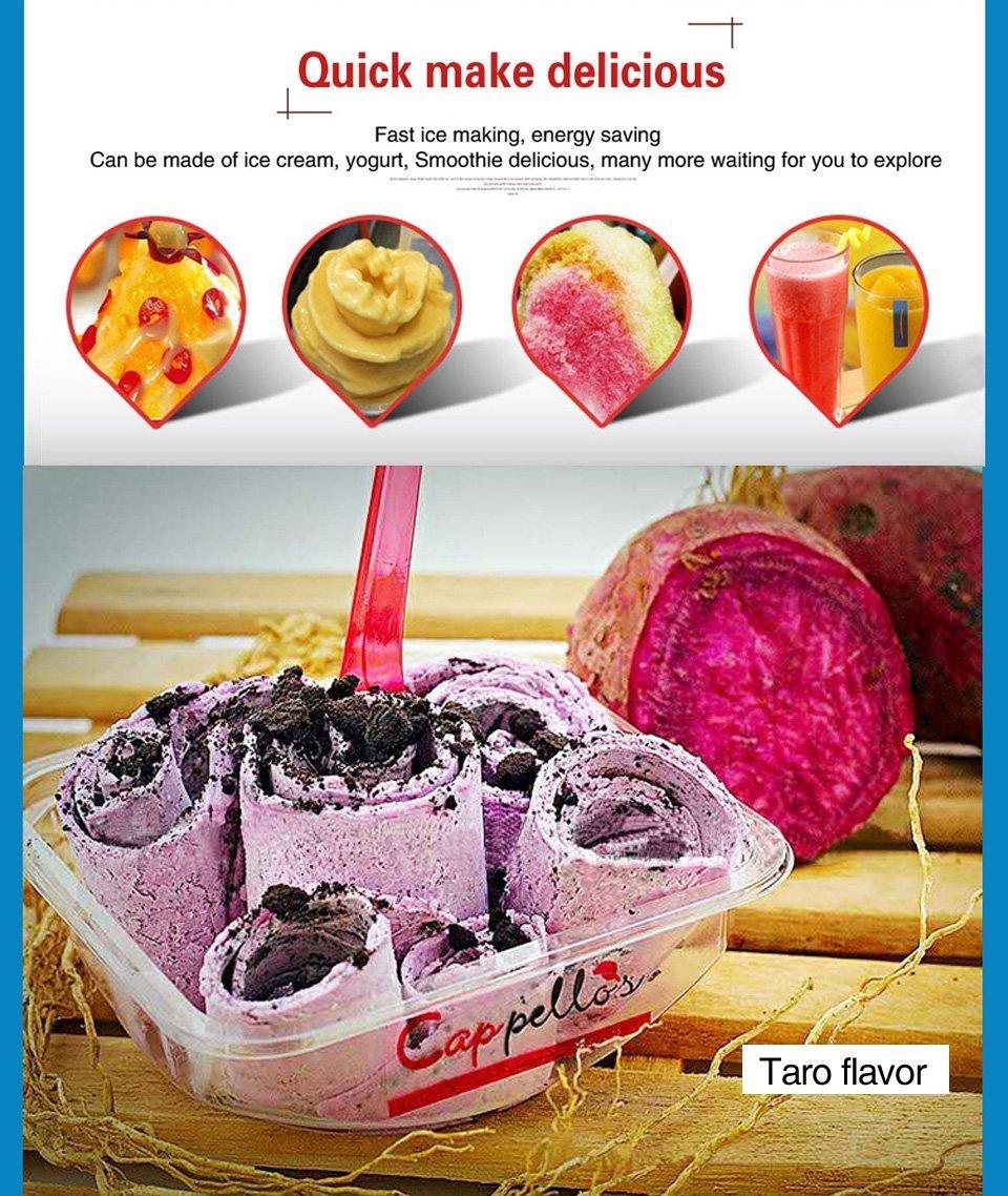 Thai frito hielo crema rollo eléctrica Panificadora para frutas, hielo, leche, yogur con panel de control: Amazon.es: Hogar