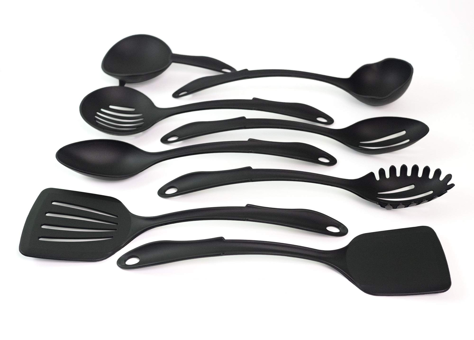 Kitchen Utensil Set Made in USA, 8 Best Kitchen Utensils - Nonstick Cooking Spatula,NYLON Kit, Solid Turner, Slotted Turner, Slotted Spoon, Basting Spoon, Strainer, Spoon Rest, Ladle, Pasta Server