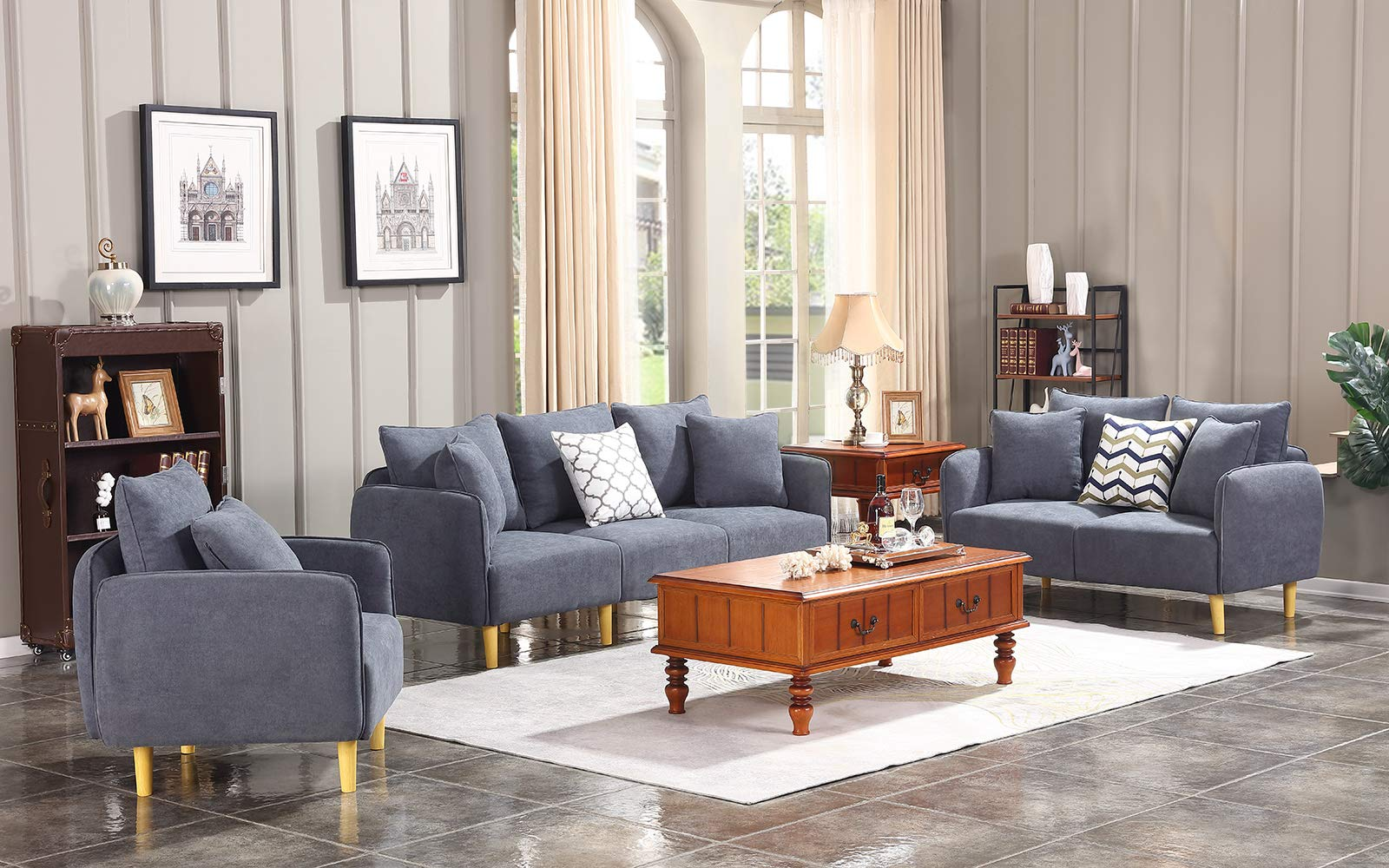 Honbay 3 Piece Chair Loveseat Sofa Sets for Living Room Furniture Sets, Dark Grey by Honbay