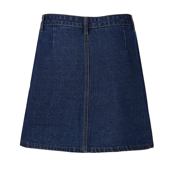 ShiTou Skirts, Summer Women High Waist Short Sexy Pockets Blue Denim Skirts at Amazon Womens Clothing store: