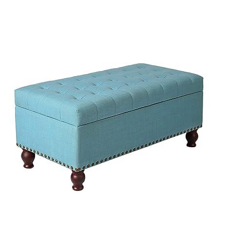 Brilliant Decent Home Storage Ottoman Bench Button Tufted Foot Rest Stool For Living Bed Room Blue Inzonedesignstudio Interior Chair Design Inzonedesignstudiocom