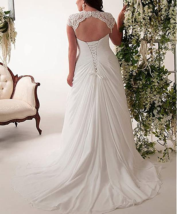 Womens Sexy V Neck Lace Chiffon Wedding Dress with Cap Sleeves Plus Size at Amazon Womens Clothing store: