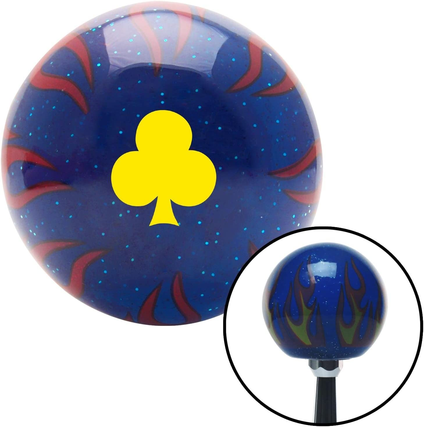 Yellow Clubs Blue Flame Metal Flake with M16 x 1.5 Insert American Shifter 297681 Shift Knob
