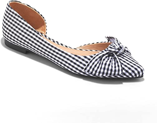 Jayme Bow Ballet Flats Shoes, (Plaid