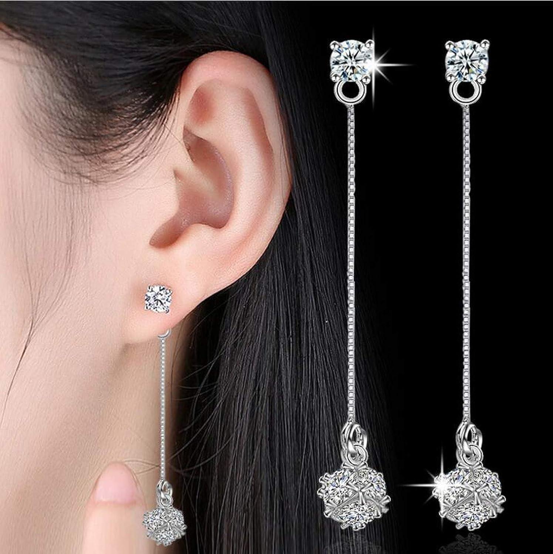 925 Sterling Silver Earrings Love Candy Zircon Cube Tassel Long Earrings Ear Line Stud Earrings For Women