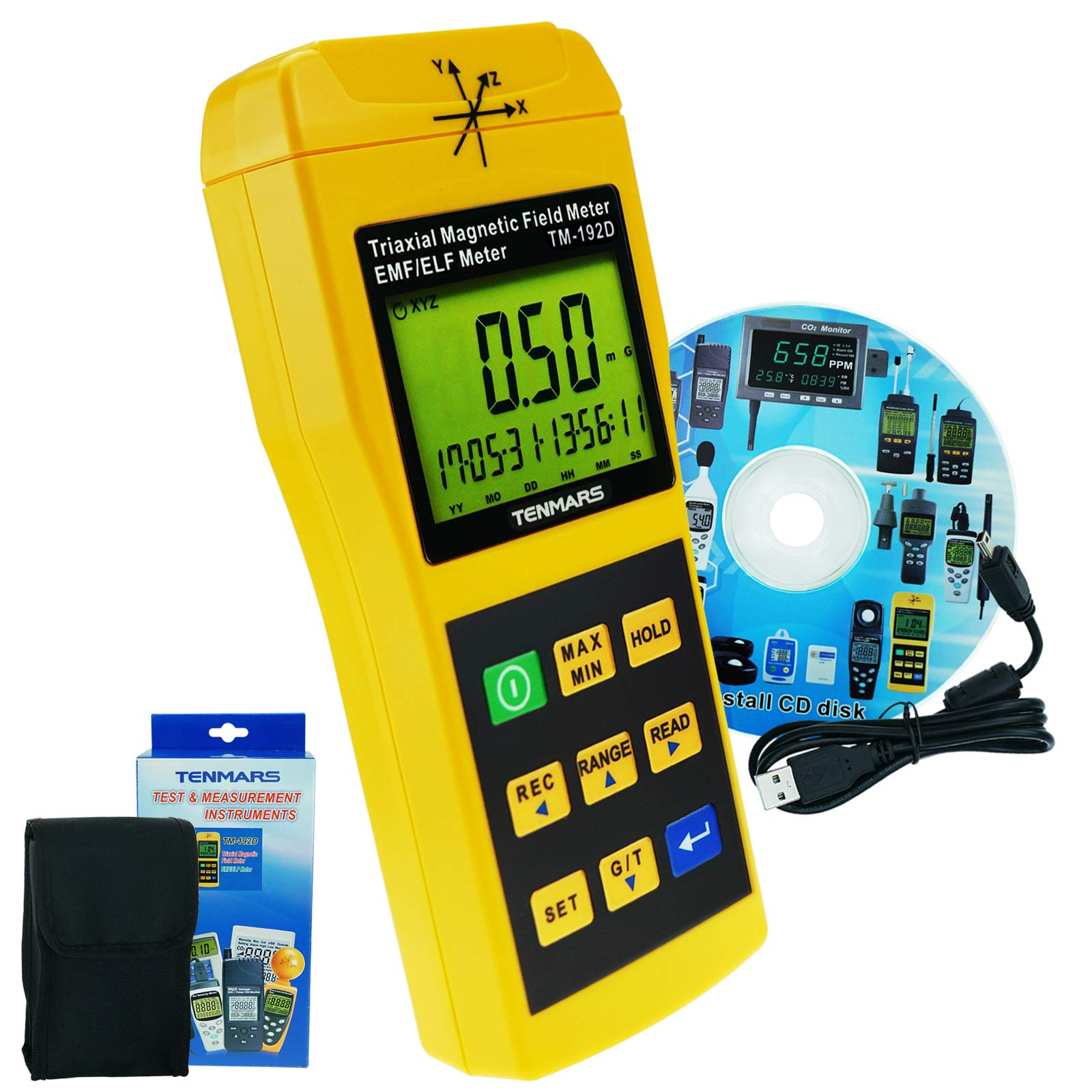 Tenmars TM-192D 3-Axis EMF Electromagnetic Magnetic Field Gauss Meter EMF 30~2000HZ with datalogger CD USB Software