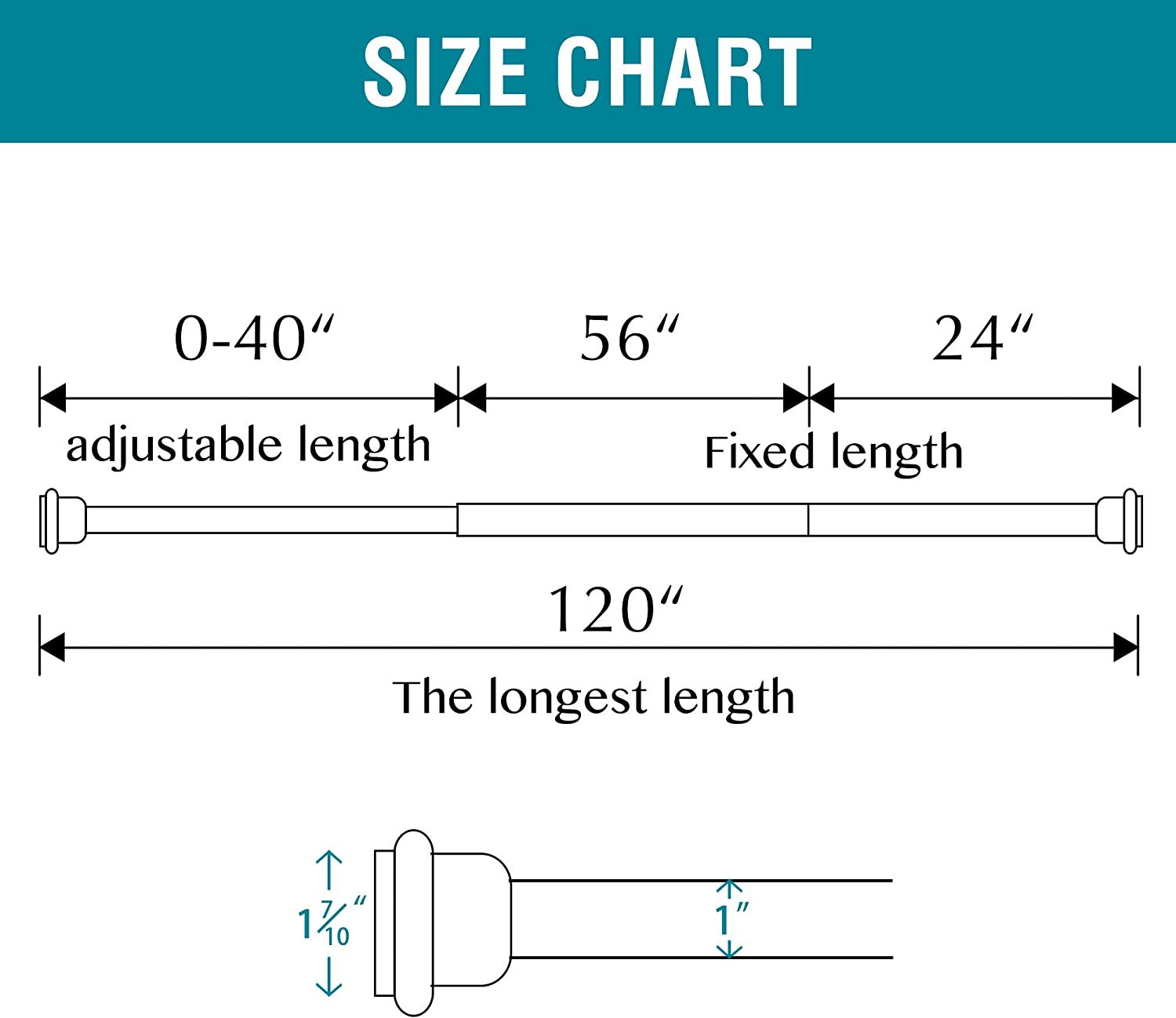No Drilling 1-Inch Diameter Room Divider Rod Tension from 120 to 150 Inches White Premium Tension Curtain Rod for Heavy Weight Curtains or Clothes