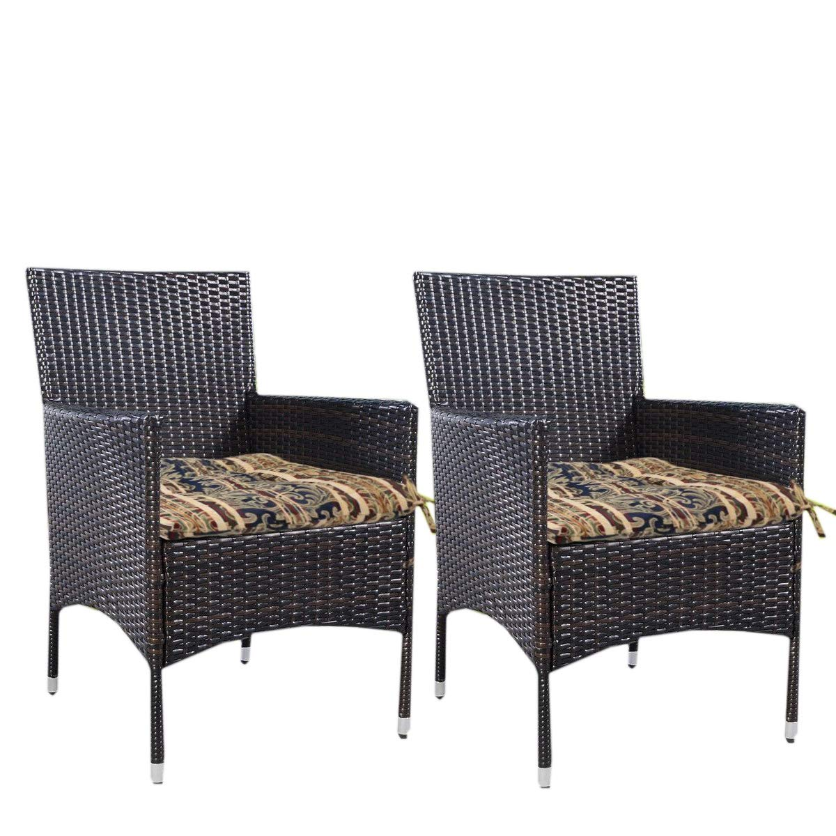Prettyshop4246 Set of 2 Pcs Indoor Outdoor Wicker Warm Cushion Seat Pad Poolside Home Garden Patio Backyard Balcony Linen Fabric Made in USA Product Soap Maintain Easy Clean Brown Tone Color by Prettyshop4246 (Image #5)
