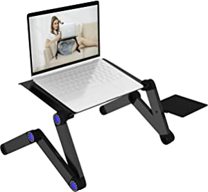 Laptop Stand,Adjustable Portable Laptop Desk for Bed or Sofa,Table Vented with CPU Fans/Mouse pad Standing Desk,Ergonomic TV Bed Lap Tray Stand Up/Sitting,Black.