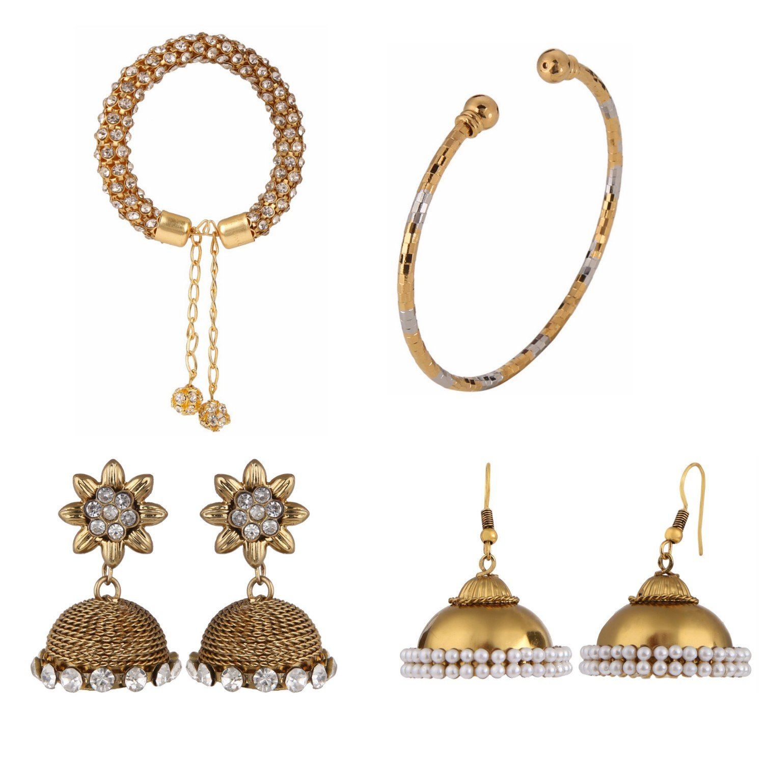 Indian Jewellery Bollywood Combo of Ethnic Designer Party Wear Bracelets and Earrings for Girls and Women Jaipur Art Jewellery BR30_BR48_MER12_MER68