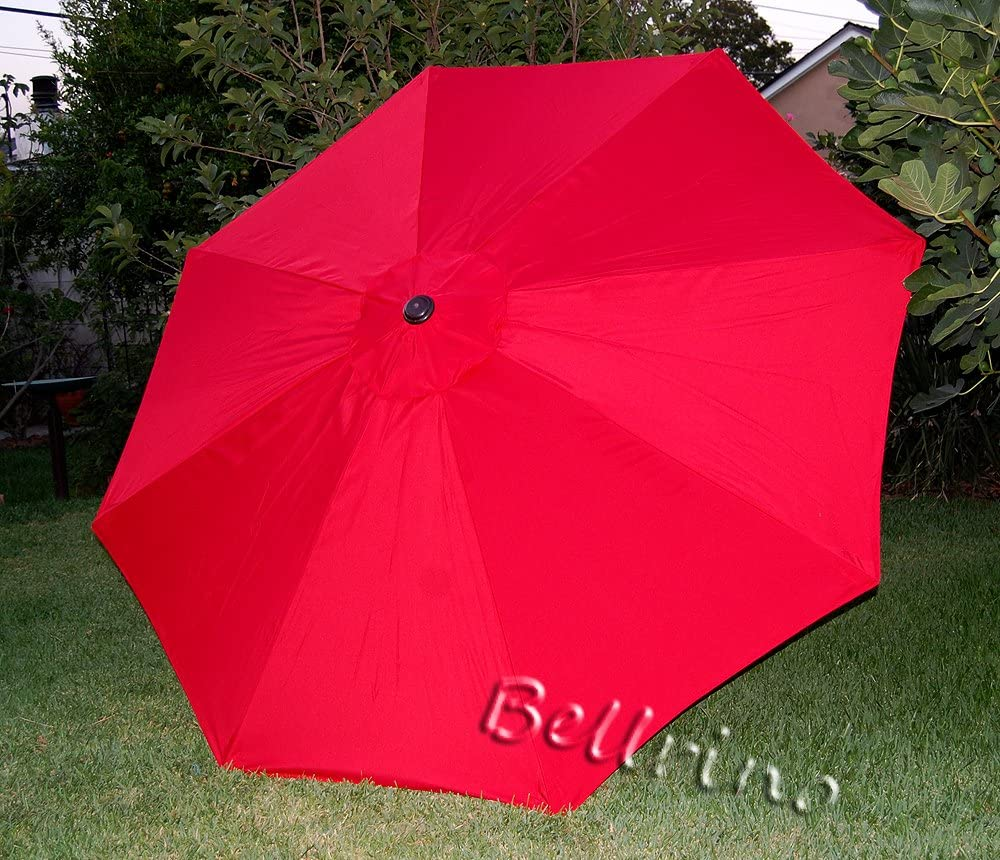 BELLRINO DECOR Replacement RED Strong & Thick Umbrella Canopy for 9ft 8 Ribs Bright Red (Canopy Only)