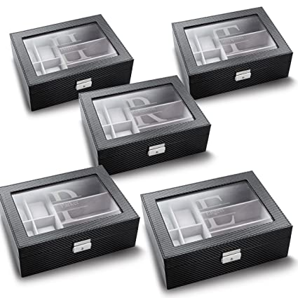 Set Of 5 Personalized Watch And Sunglasses Boxes Stamped Monogram