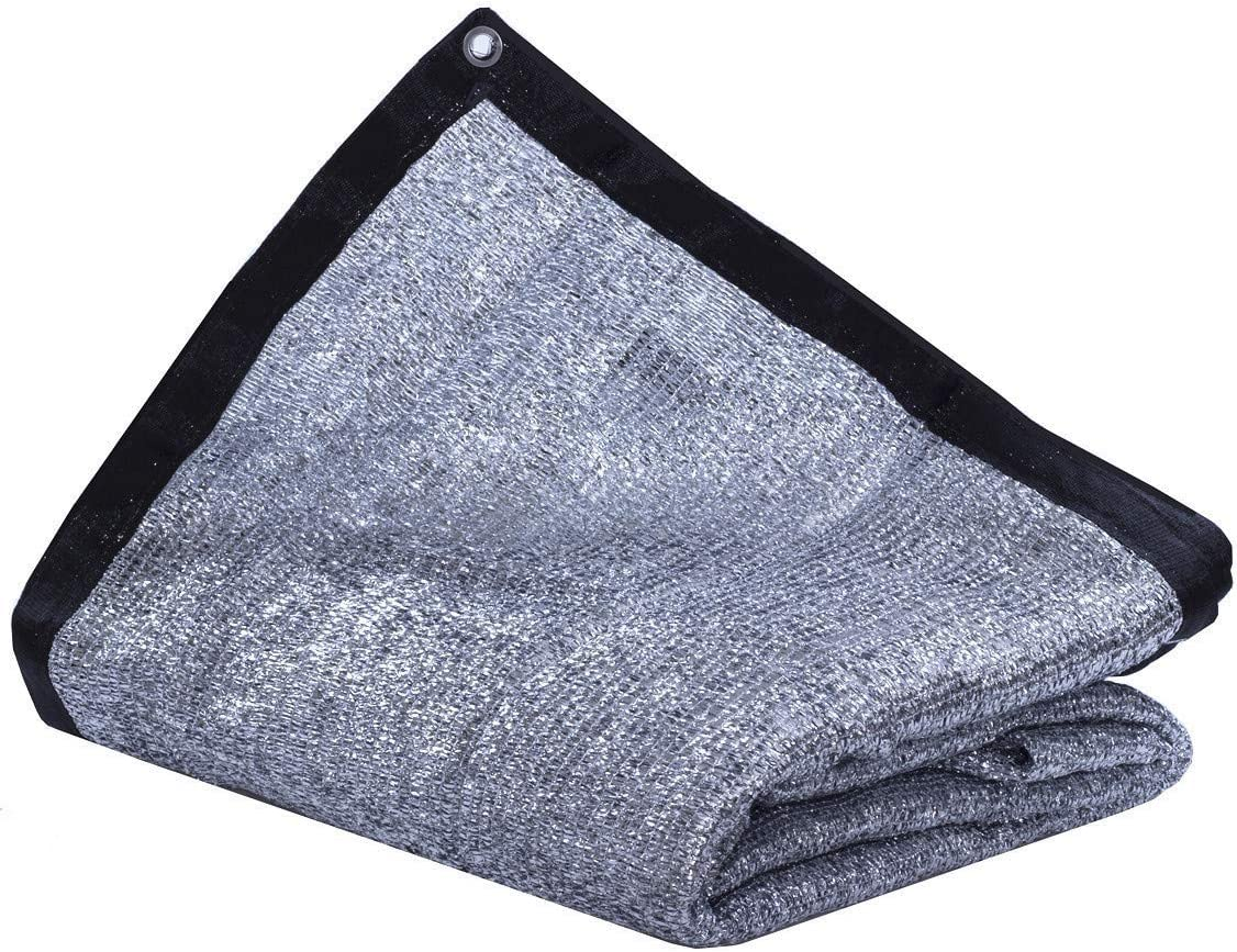 JTsuncover- Aluminet 85% - Heavy Duty Shade Cloth Mesh Sun Block Fabric Sun Reflect Pet Shade - with Grommets - 10 ft x 20 ft