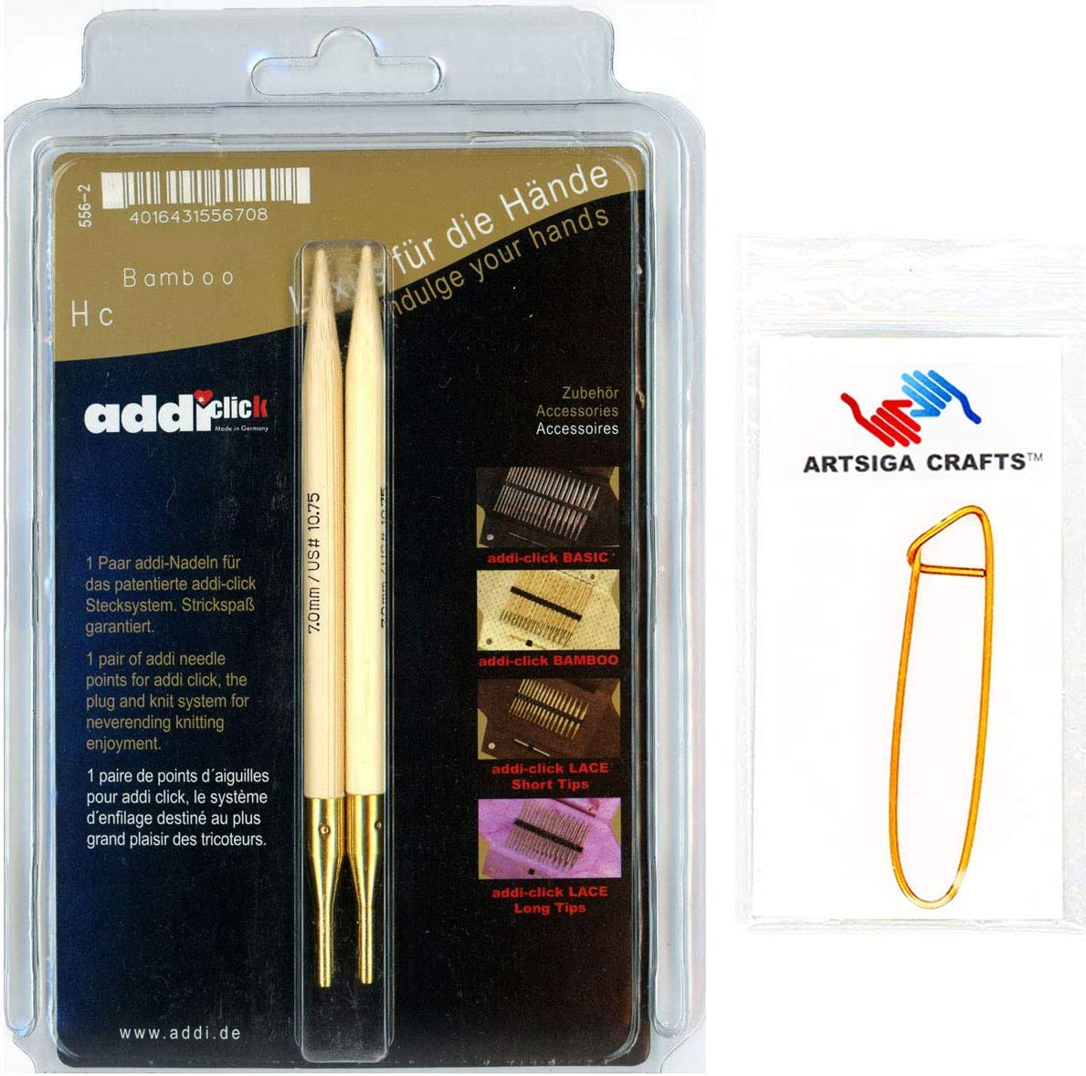 Bambus addi Click Bamboo Spitzen 13 cm B/ündel mit 1 Artsiga Crafts Aluminium Maschenhalter 13cm//3.75mm