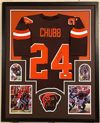 74ea5c648 Image Unavailable. Image not available for. Color  FRAMED CLEVELAND BROWNS  NICK CHUBB AUTOGRAPHED SIGNED JERSEY JSA COA