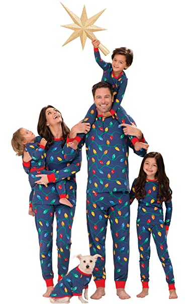 blue christmas lights family pj set