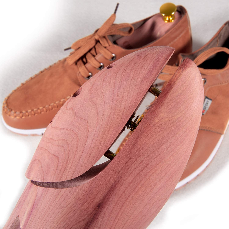 Olive Cedar Shoe Trees Dual Tube Split Toe Adjustable Shoe Stretcher for Men