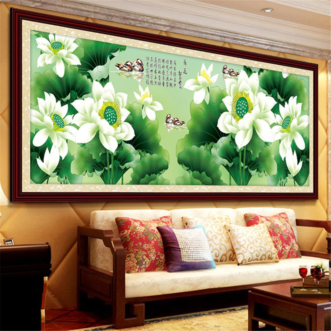 Mazixun 2018 Special Shaped Diamond Painting Partial Flowers Round Mosaic Beadwork Wall Stickers 5D Lotus Luck 146x50cm