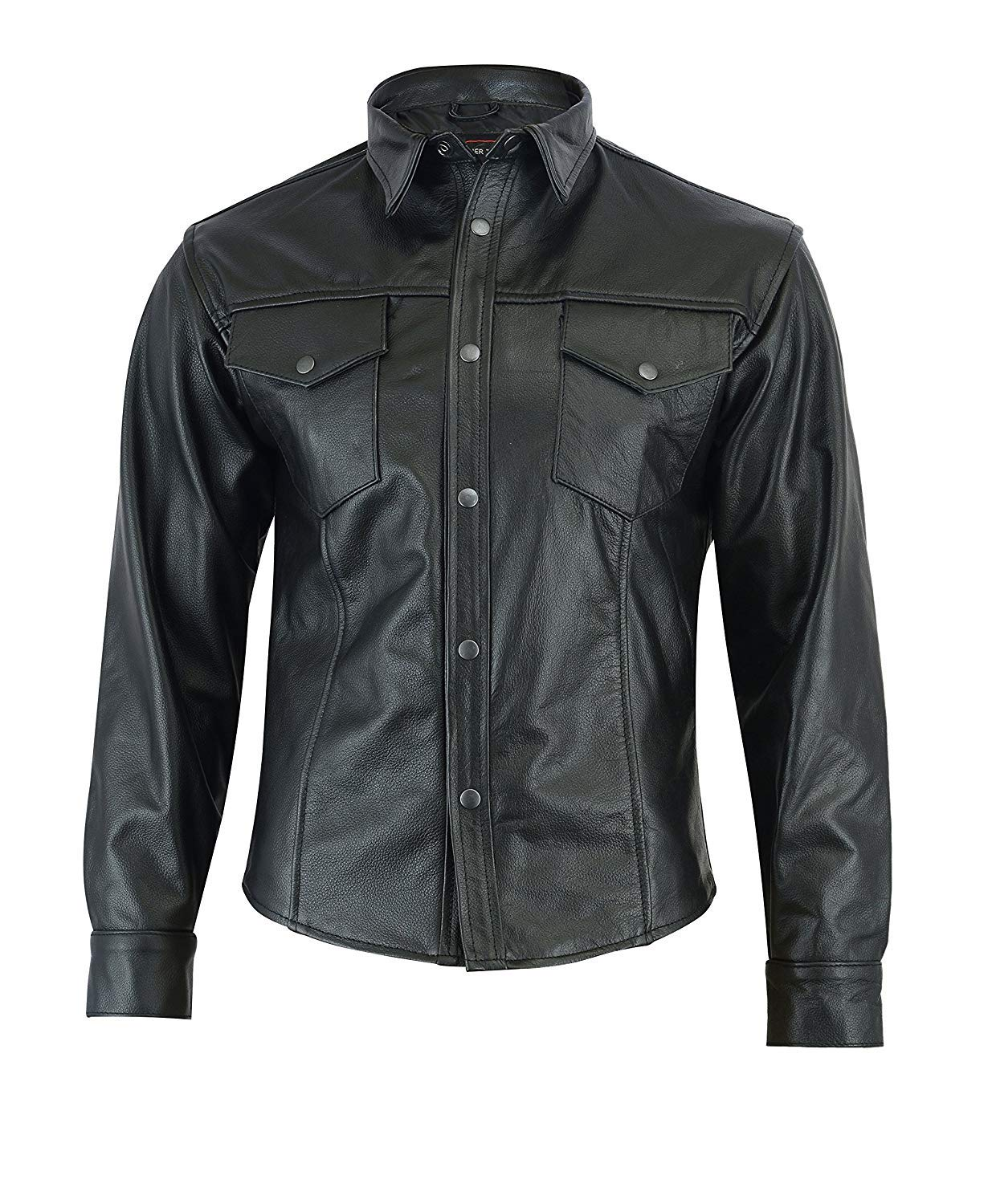 Black Size S Chest 38//97Cm Small Motorcycle Bikers Leather Shirt Ls-2000