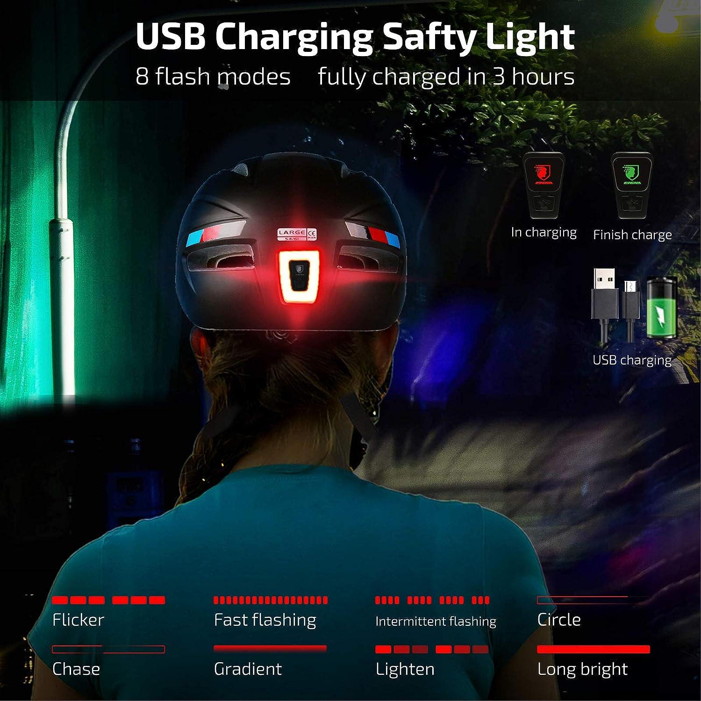 CPSC/&CE Certified with Rechargeable USB Light Cycling Helmet Adjustable Reel Lightweight Bicycle Helmet with Detachable Visor Detachable Magnetic Goggles ELLOLLA Adult Bike Helmet for Men Women