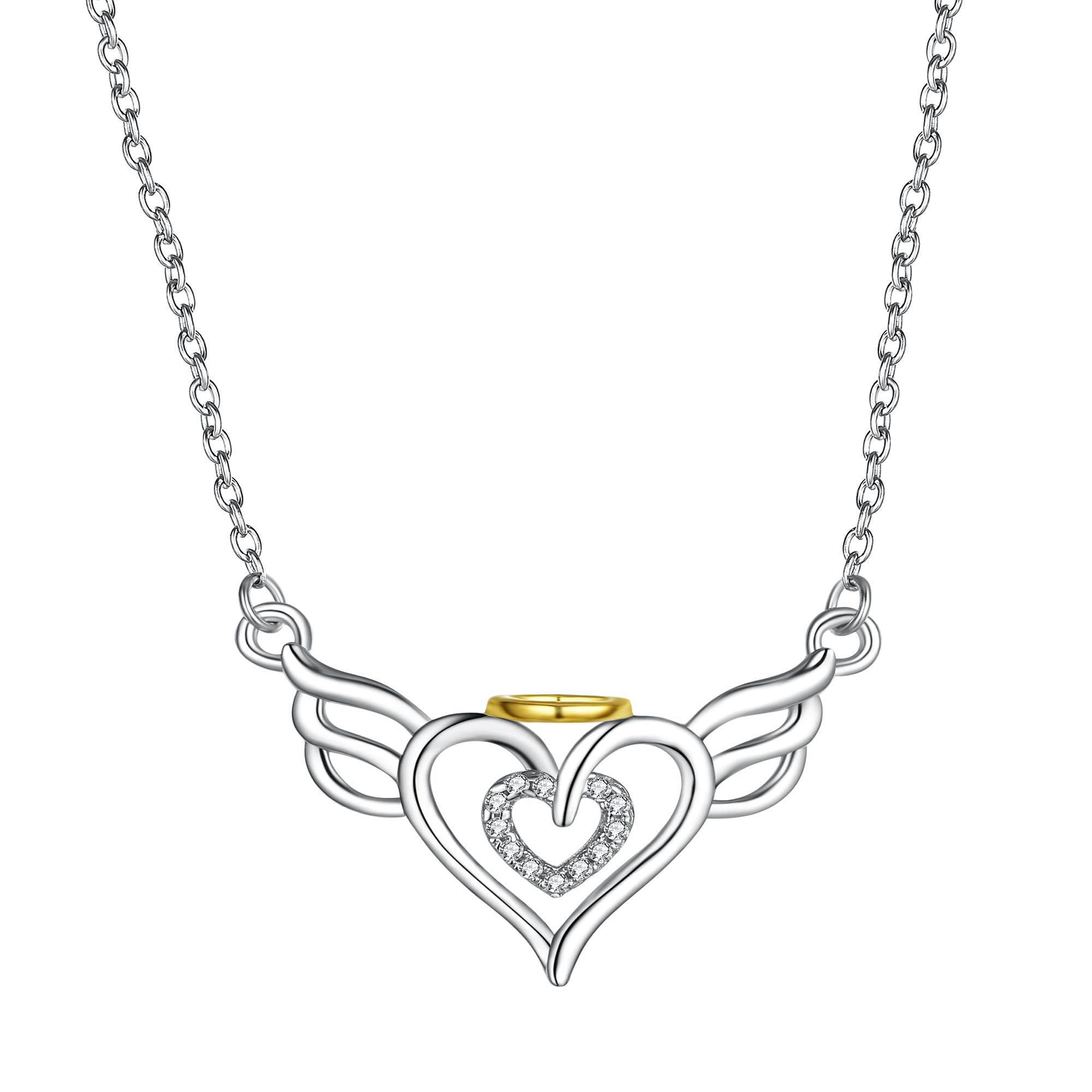 Sterling Silver Pendant Necklaces - Women 18k Gold Plated Charm Jewelry - Wings Heart by SISGEM (Image #1)