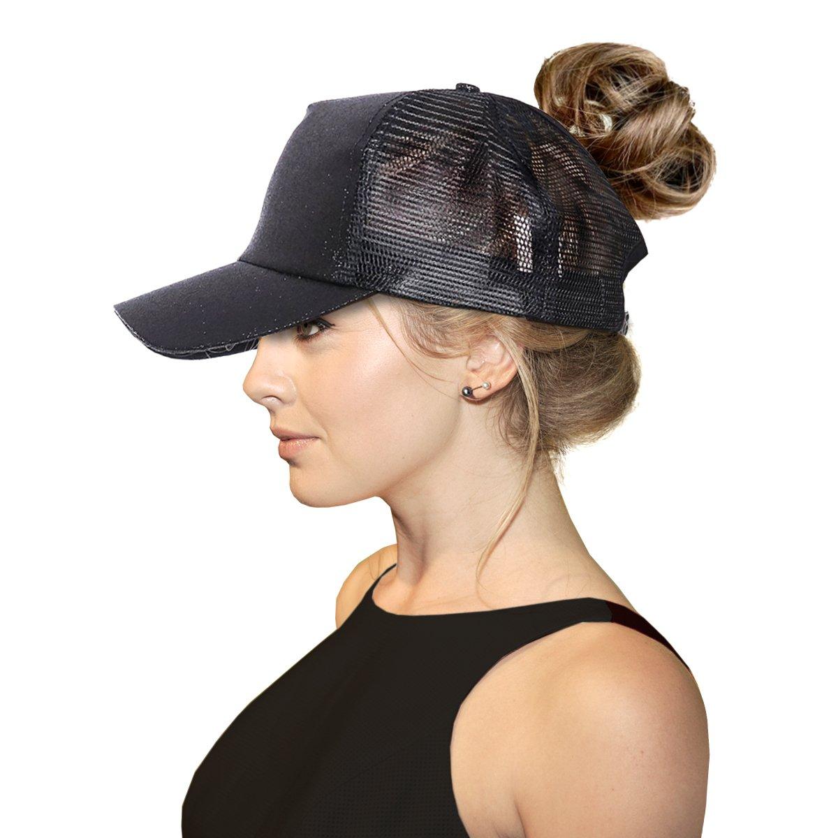 FADA Black Glitter Ponytail Baseball Cap for High Ponytail Women Girl Messy Bun Shinny Ponycaps Baseball Hat