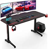 VANSPACE 55 Inch Gaming Desk with Free Mouse Pad, Ergonomic T-Shaped Office Desk PC Computer Desk, Gamer Tables Pro…