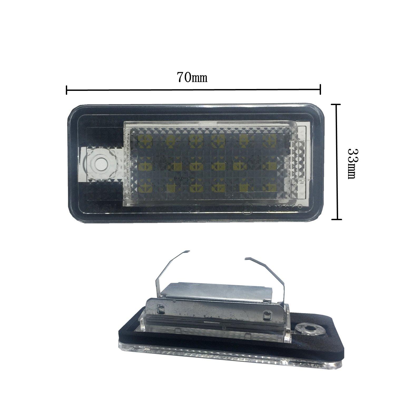 6000K Xenon wei/ß zum Austausch Kennzeichenleuchte Plug /& Play B8 1210 24-SMD Kennzeichenbeleuchtung 12V DC A5 // S5 Q5 TT//TT RS ZTMYZFSL 2 St/ück Kennzeichenbeleuchtung A4 A4 B8