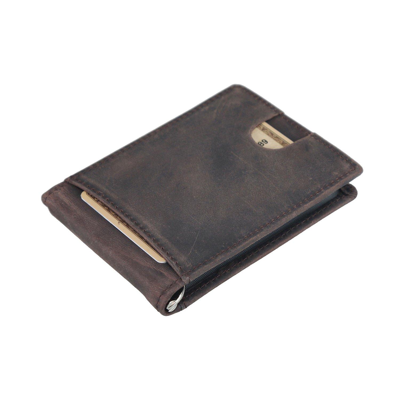 Polare Men's RFID Blocking Leather Wallet Slim Designer Travel Bifold & Credit Card Holder (Dark Brown)