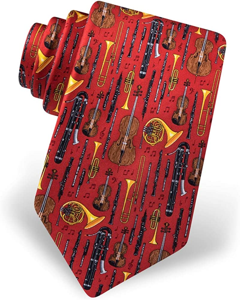 Mens 100/% Silk Well Orchestrated Musical Instruments Music Tie Necktie