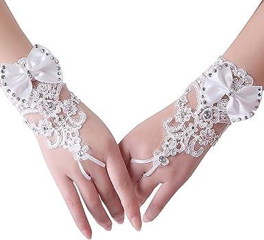 Yalice Womens Rhinestone Bride Wedding Gloves Lace Short Fingerless Bridal Glove Prom Dress Accessories