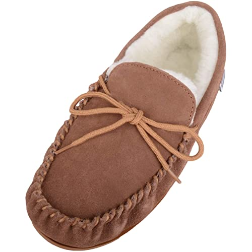 d217739ffe5 Men s Boot Style Sheepskin Moccasin Slippers with brown rubber sole ...
