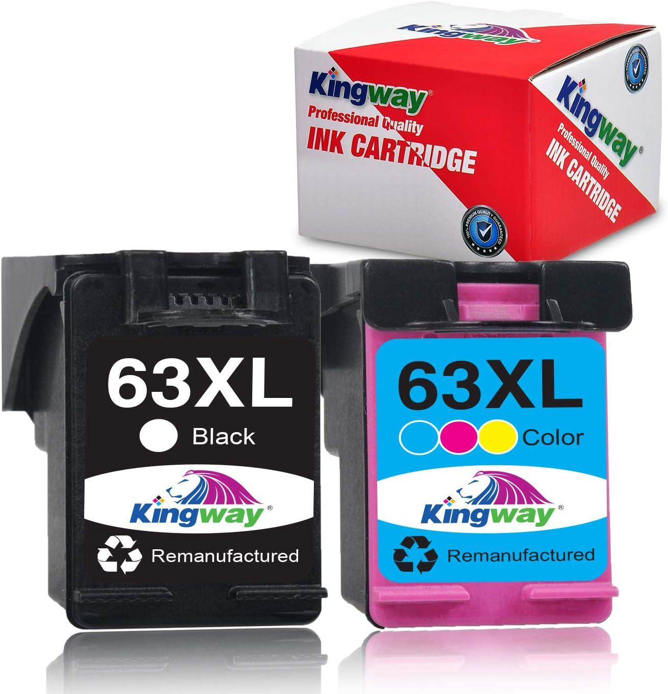 Kingway Remanufactured Ink Cartridge for HP 63XL 63 XL 63 Ink for Officejet 5255 5258 3830 4650 3833 4655 Envy 4520 4512 4516 Deskjet 1112 2130 2131 3630 3633 3634 Printer (Black, Tri-Color)
