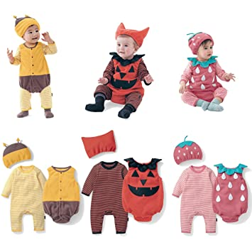 b543f031f67 Baby Toddler Boy Girl Halloween Costume Strawberry Pumpkin Bee Fancy Dress  Party Oufit+Hat Clothes 3PCS Set (18-24 Months
