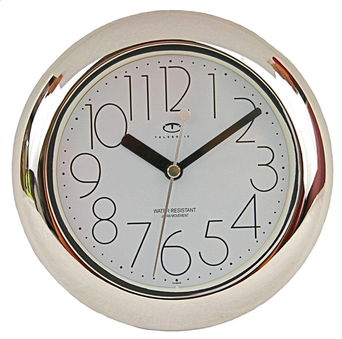 Telesonic Water Resistant Wall Clock Quiet Sweep Movement - Silver