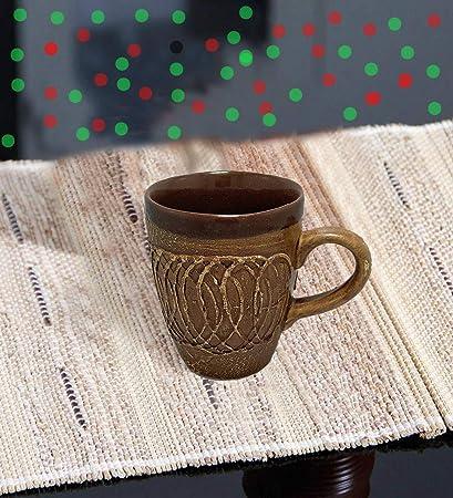 cfd25e6ff2a Handmade Clay Coffee Mug Decorated Khurja Pottery Art Ceramic Serving Mug  Use for Tea Serving,