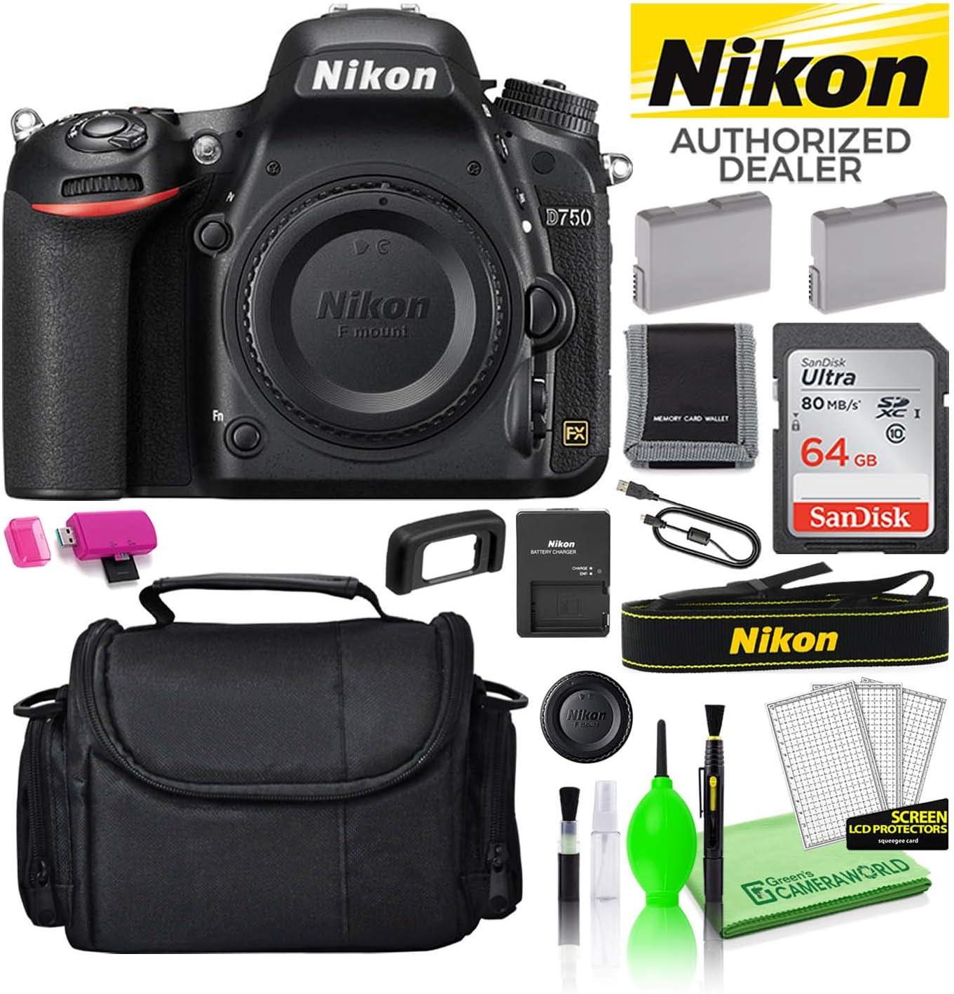 Nikon D750 24.3MP DSLR Digital Camera (Body Only) (1543) USA Model Deluxe Bundle Kit -Includes- Sandisk 64GB SD Card + Large Camera Gadget Bag + Spare EN-EL15 Battery + Camera Cleaning Kit + More
