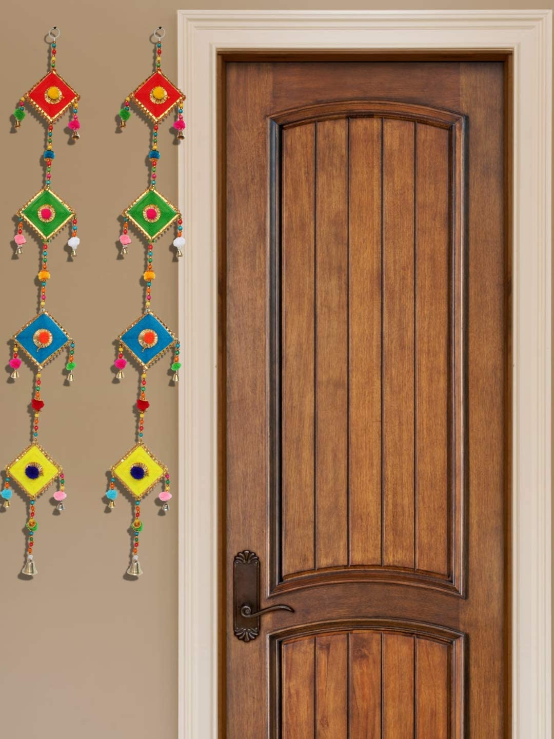 JH Gallery Handmade Woolen Kite Door Hangings/Wall Hanging/Home Décor/Home Furnishing/Diwali Gift/Corporate Gift (39 Inches) (1 Pair)