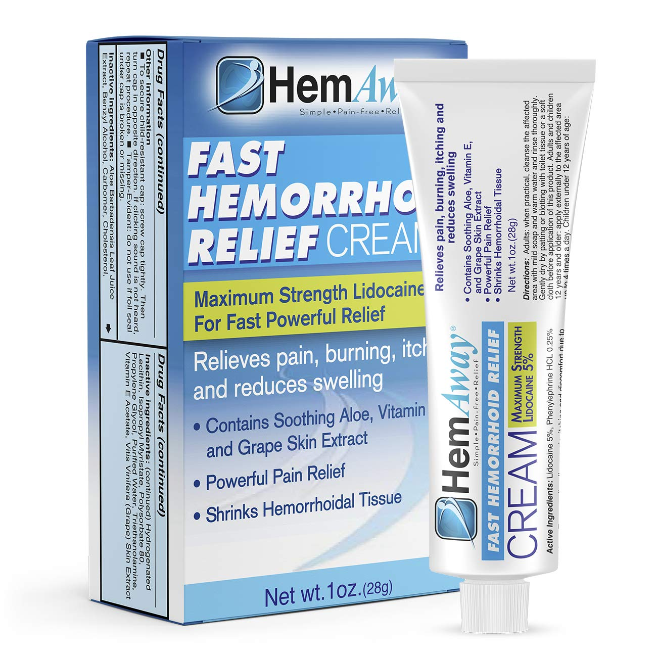 HemAway Hemorrhoid Cream, the only patented hemorrhoid cream to combine a max of 5% Lidocaine and Phenylephrine by HemAway