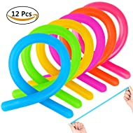 NEOWOWS 12PCS Stress Relief Toy Sensory Toys for Autistic Kids Colorful Stretchy String Fidget Sensory Toys and Increase Patience Toys for Children Adults and those with ADHD ADD OCD Autism Anxiety