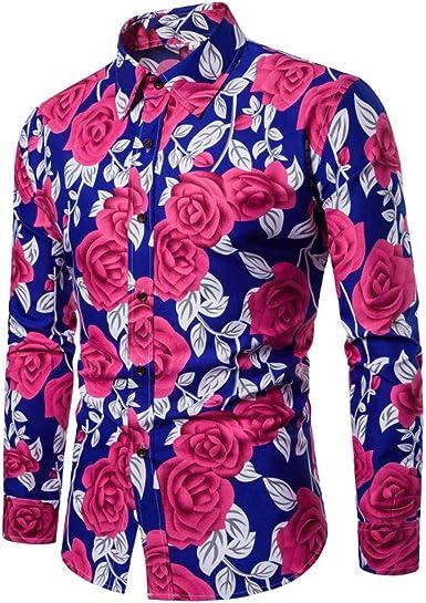 BaZhaHei, Polo de Hombre, Blusa Estampada Flor de la Moda del ...
