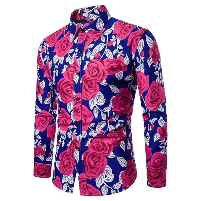 BaZhaHei, Polo de Hombre, Blusa Estampada Flor de la Moda del Hombre Tops Camisetas
