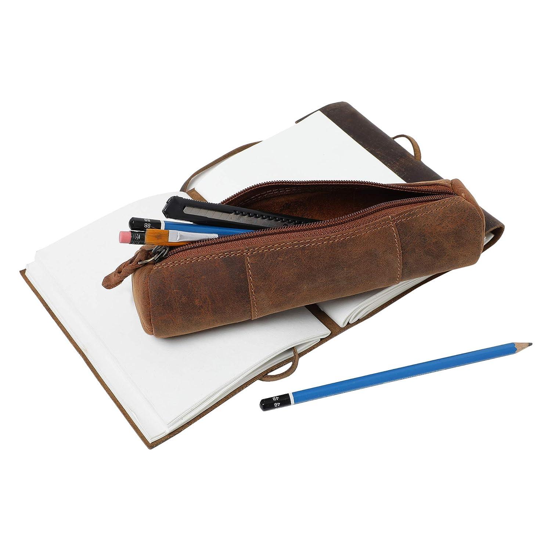 Rustic Town Estuche para L/ápices Pencil Case para Ambos Marr/ón Hombres y Mujeres