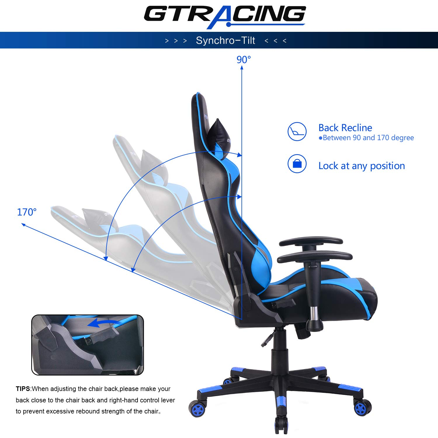GT007-White GTRACING Executive High-Back Gaming Chair Computer Office Chair PU Leather Swivel Chair Racing Chair