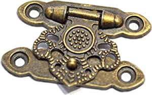 "10 PCS Mini Antique Brass Latch Hasps Decorative Bronze Vintage Locks with Screws for Jewelry Case Wooden Boxes (Length:1-1/2"", Height: 1"")"