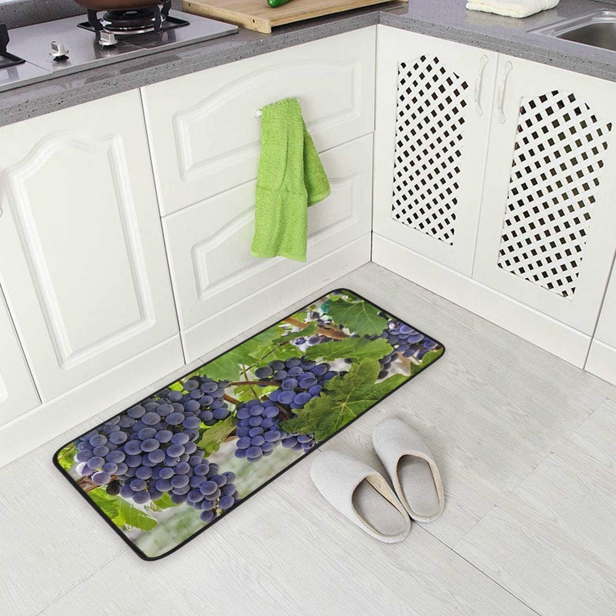 Amazon Com Fruit Grape Grapevine Vines Kitchen Floor Mat Door Mats Inside Outside Front Doormat Non Slip Rug For Home 39 X 20 Dining