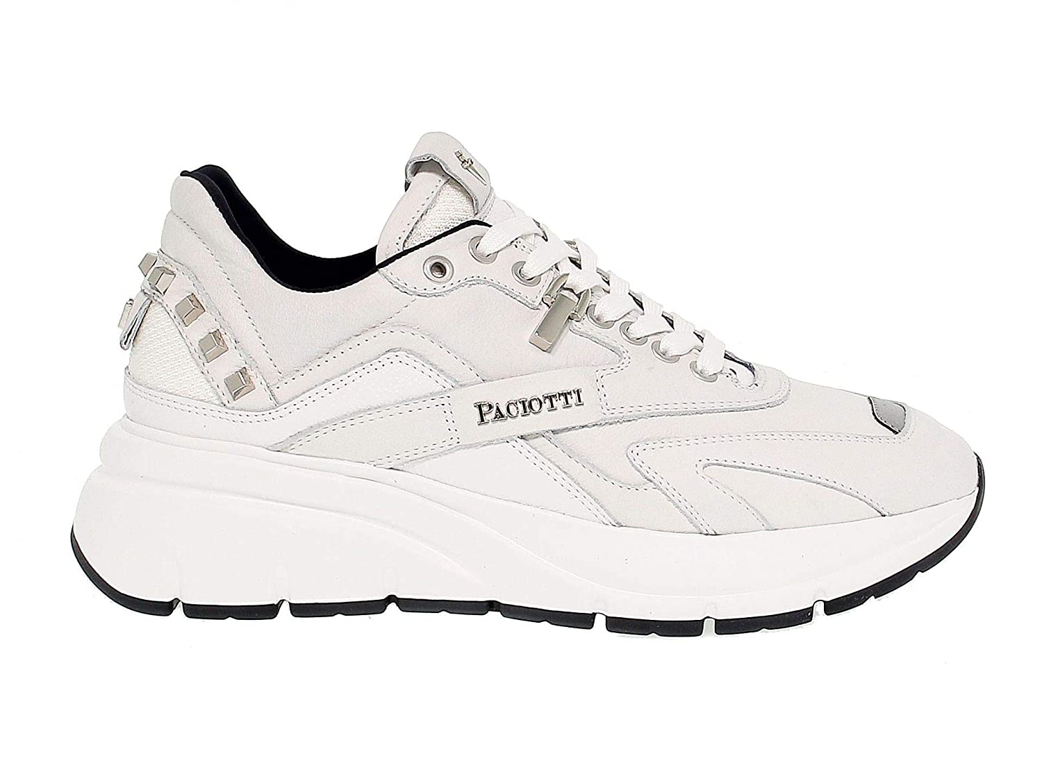 - 4US CESARE PACIOTTI Men's 4Uspu1 White Leather Sneakers